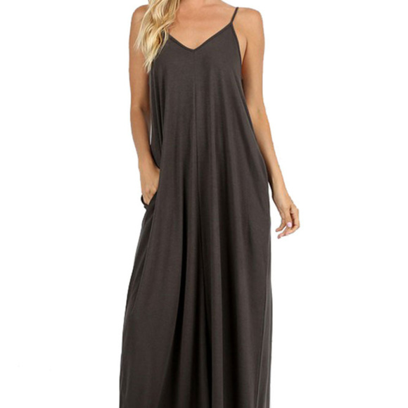 bf3075f3466 V Neck Cami Maxi Dress in Ash Grey. Boutique. Zenana Outfitters
